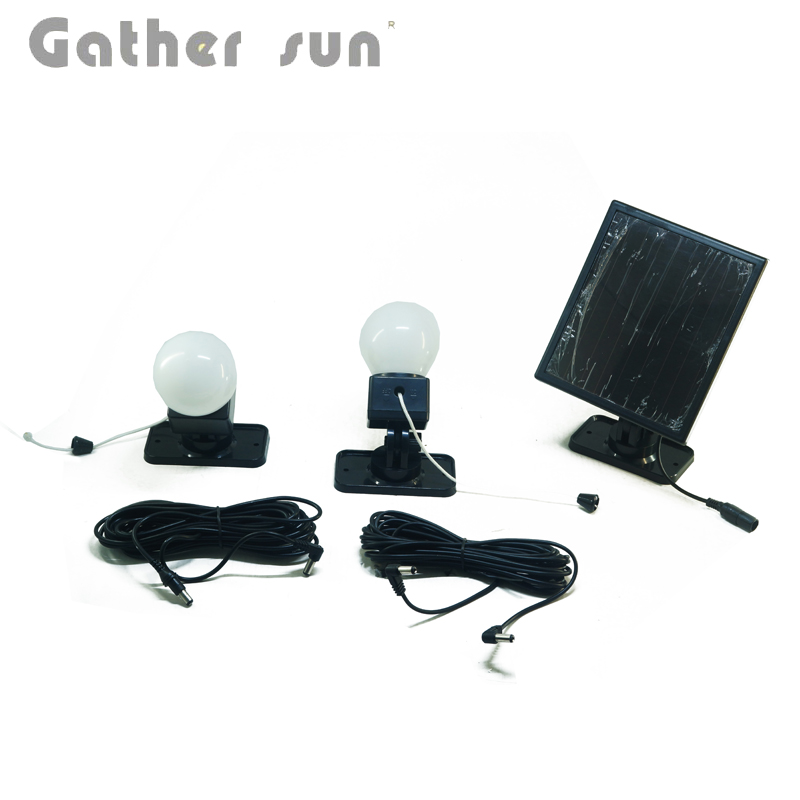 2Pcs/Lot Solar Indoor Light For House/Camping Lighting With Two Big Lamp 10m Wire Pull Switcth Black Body Light IP44 Waterproof 2pcs 150mm big optical pmma plastic round solar condensing compound eye fresnel lens improving brightness of light focal length