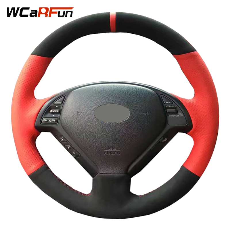 WCaRFun Hand Stitched Red leather Black Suede Car Steering Wheel Cover for Infiniti G25 G35 G37