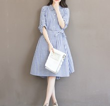 9019 2016 maternity clothing autumn tiebelt expansion bottom stripe long-sleeve shirt dress