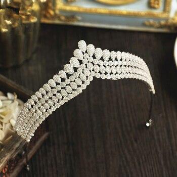 Micro Paved Cubic Zircon Tiara Pearl Drops Full Zirconia Crown Bridal Headpiece Wedding Hair Accessories CZ Coroa Novia WIGO1215