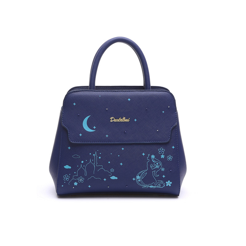 Blue Space Women PU Leather Business Handbag High Quality Top-Handle Bag Beading
