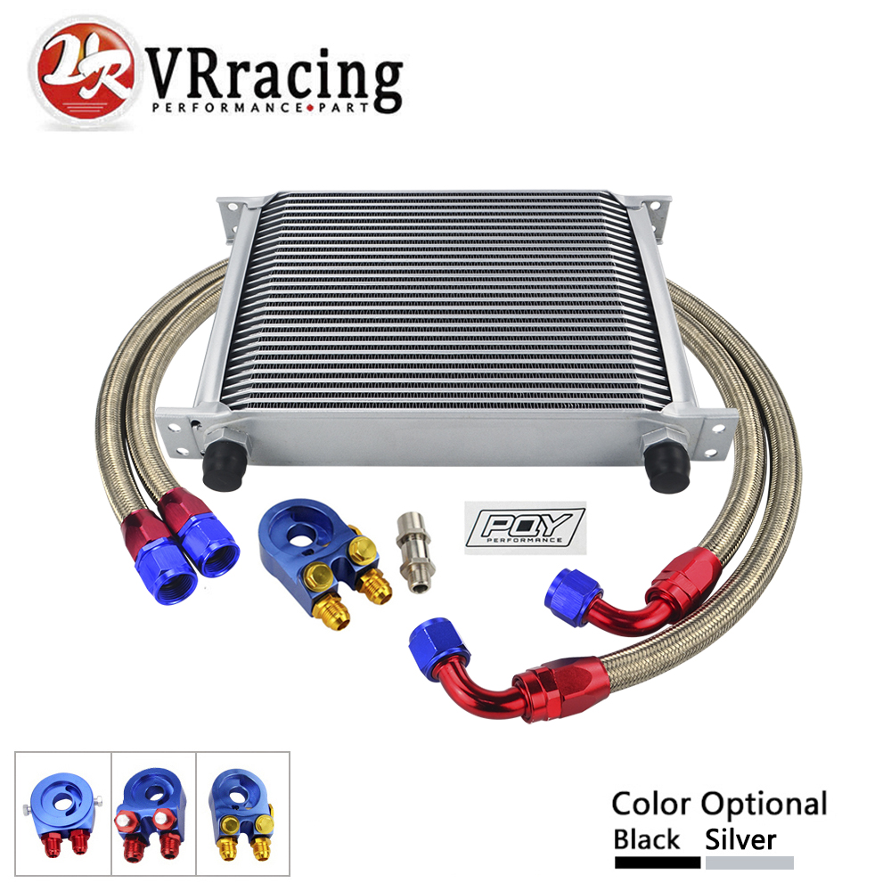 VR RACING- AN10 OIL COOLER KIT 28 ROWS OIL COOLER + OIL FILTER ADAPTER + NYLON STAINLESS STEEL BRAIDED HOSE WITH PQY STICKER+BOX