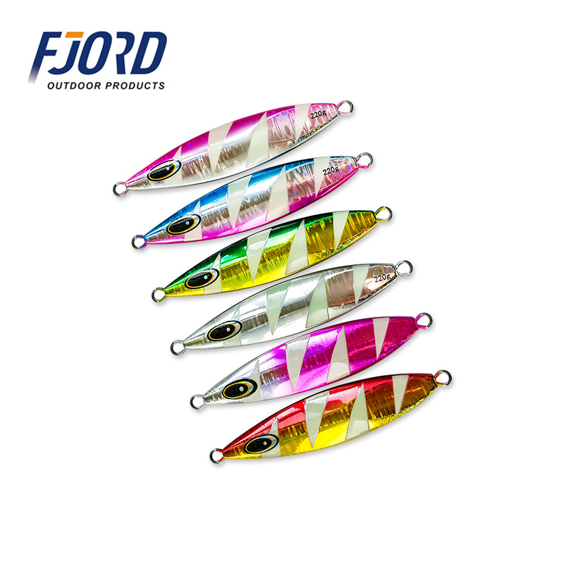 FJORD 180g 220g 250g Sinking Slow Shake Metal Jig Ocean Boat Rock Beach Stripe Glow Lead Fish Deep Sea Fishing Jigging Lure цена