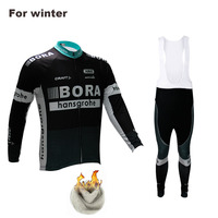 Bora 2017 Team Winter Polar Outdoor Sports Jacket Cycling Jersey Set Bib Clothing Suit With 9D