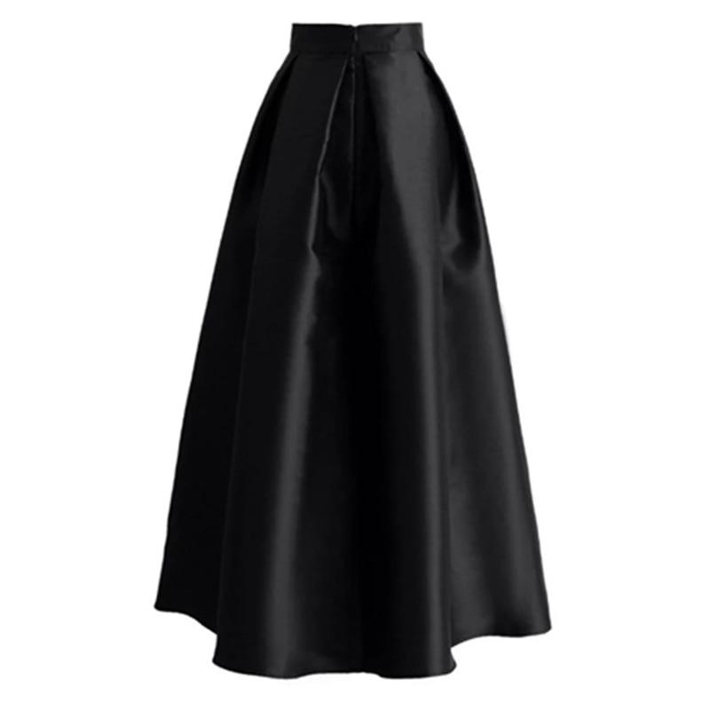 Plus Size Skirts Faldas Mujer Moda 19 Abaya Dubai Turkish Long Pleated Maxi High Waist Skirt Women Jupe Longue Femme Skirts 27