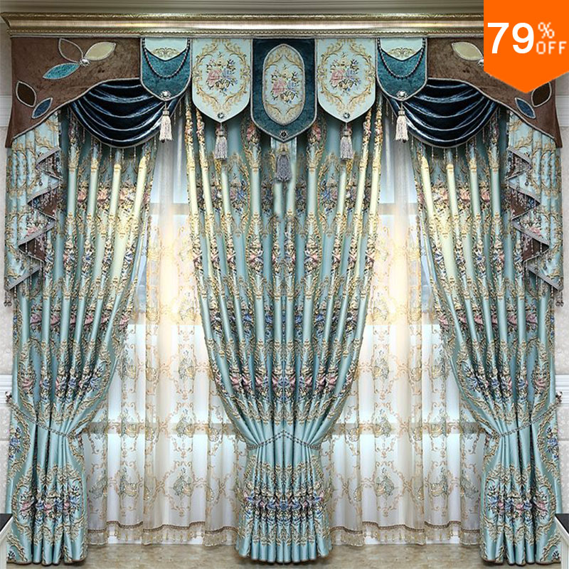 Lichtblauw grijs paleis Luxe borduurwerk Voor grote zaal Live-kamer - Thuis textiel