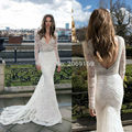 Free Shipping 2017 Selling Well Custom Made Elegant Sexy V-Neck Long Sleeves With Tulle Mermaid Wedding Dress Bridal Gown