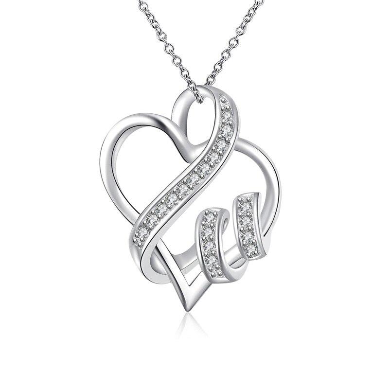 a0e1436d7e5e Joyería cristalina romántica bijouterie suspensión corazón Colgantes  plateado choker Collar para las mujeres Collier Femme bb0113