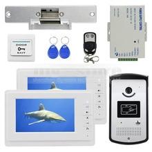 DIYSECUR 7 inch Video Door Phone Kit 1V2 + Strike Lock + Remote Control + Exit Button + Keyfobs + PSU