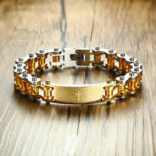 Gents Two Tone Bible Cross Design Bike Bracelet for Men Stainless Steel Motorcycle Bicycle Chain Braslet Male Jewelry 23.5cm