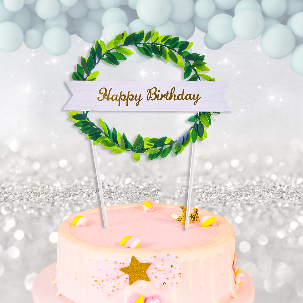 Phenomenal Wreath Pink Blue Green Leaf Sweet Love Happy Birthday Cake Topper Funny Birthday Cards Online Overcheapnameinfo