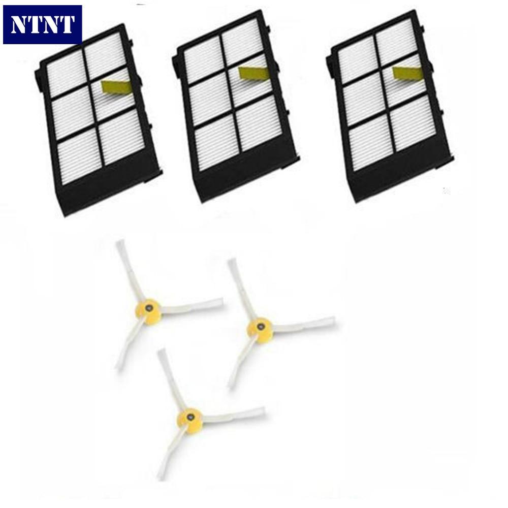 NTNT Free Post New 3 pack Hepa Filters & 3 armed side brush for iRobot Roomba 800 series 880 870 ntnt free post new 3 armed side brush