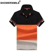 b93fa6051 SHOWERSMILE قميص بولو الرجال البرتقال خليط المحملات الأزياء الذكور 100%  القطن قصيرة الأكمام الأعمال الصيف