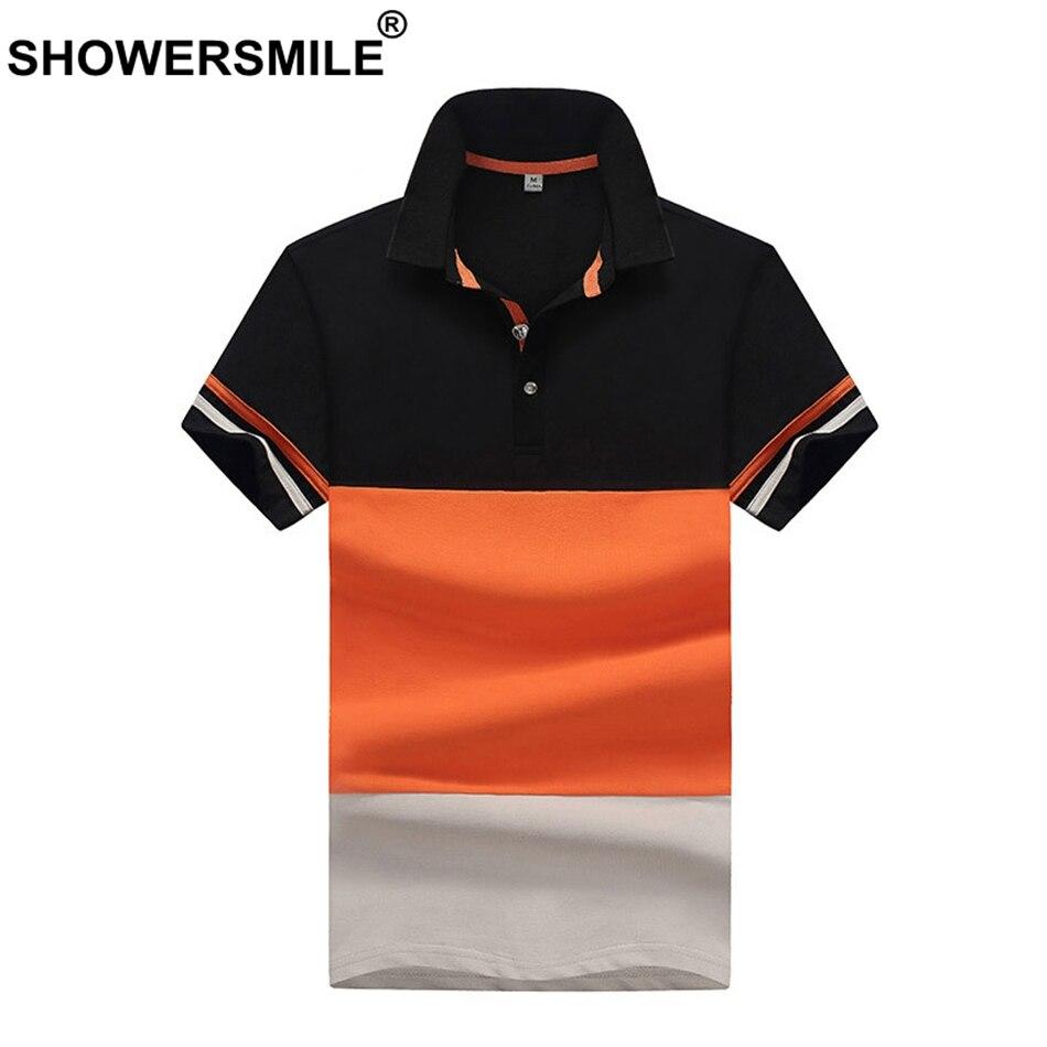 SHOWERSMILE   Polo   Shirt Men Orange Patchwork Tees Fashion Male 100% Cotton Short Sleeve Business Summer Plus Size Clothing 4XL