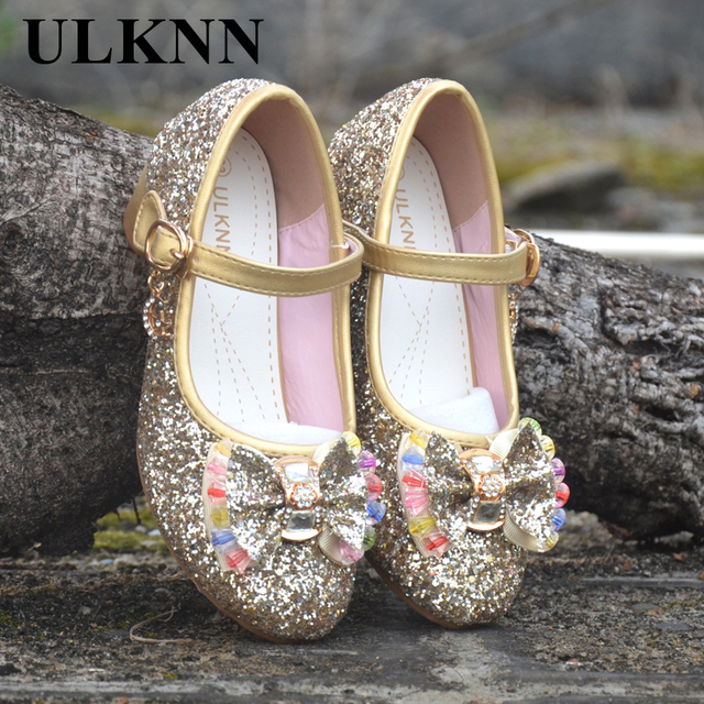 ULKNN Girls Sandals Kids Crystal Shoes Dream High Heels Students Dance  Party Shoes Children Leather Fashion Bow Pink Princess fa20c92a9773