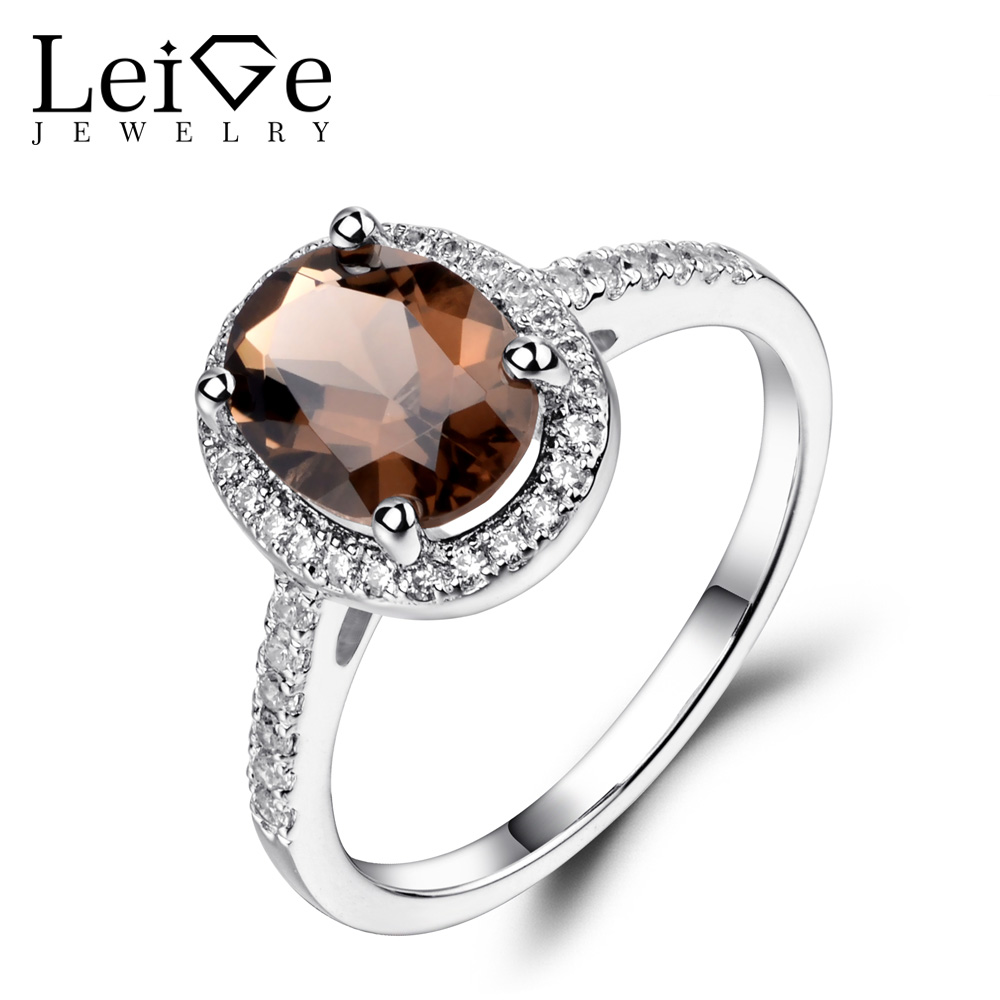 Leige Jewelry Oval Shaped Smoky Quartz Ring 925 Sterling Silver Wedding Engagement Halo Rings for Women Oval Gemstone JewelryLeige Jewelry Oval Shaped Smoky Quartz Ring 925 Sterling Silver Wedding Engagement Halo Rings for Women Oval Gemstone Jewelry