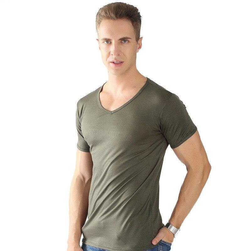 MRMT 2021 Brand New Summer Men's T-shirt V-collar Narrow Side Plus Short-sleeved T-shirt for Male Pullove Tops T-shirt