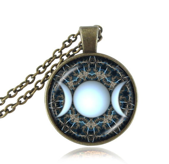 Triple moon goddess pendant wiccan jewelry moon goddess necklace triple moon goddess pendant wiccan jewelry moon goddess necklace witch necklaces glass dome choker necklace moon jewellery in pendant necklaces from jewelry aloadofball