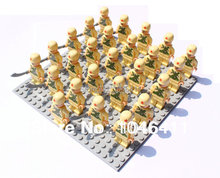 26pc/lot yellow army Minifigure fit all brand Building Block doll,Loose Brick accessory WOMA Sluban Decool mini figures