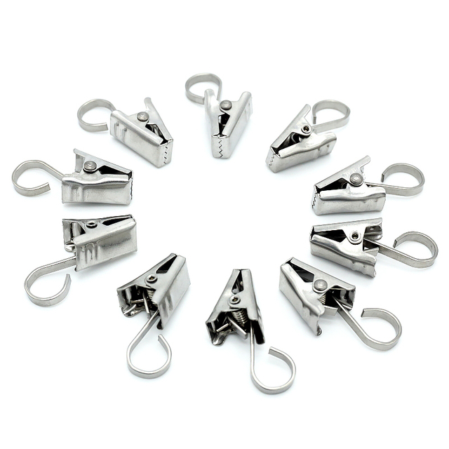 Stainless Steel Curtain Hook Clips Window Shower Curtain Rings Clamps  Drapery Clips Curtain Kitchen Bathroom Accessories