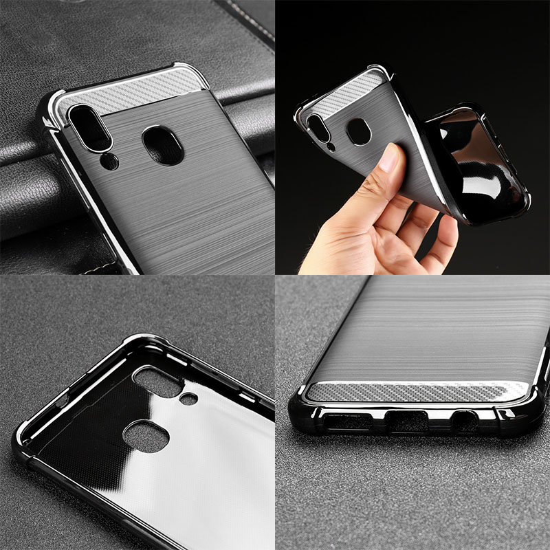 Case For Samsung Galaxy A30 A50 A40 A10 A70 Case Silicone Cover Shockproof Carbon Fiber Phone Case For Samsung A30 A 30 Cover in Fitted Cases from Cellphones Telecommunications