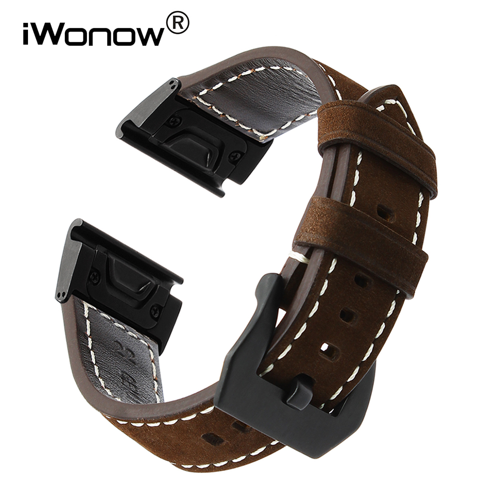 26mm Easy Fit Genuine Leather Watchband for Garmin Fenix 3 / HR / 5X Watch Band Quick Release Strap Steel Clasp Wrist Bracelet цена