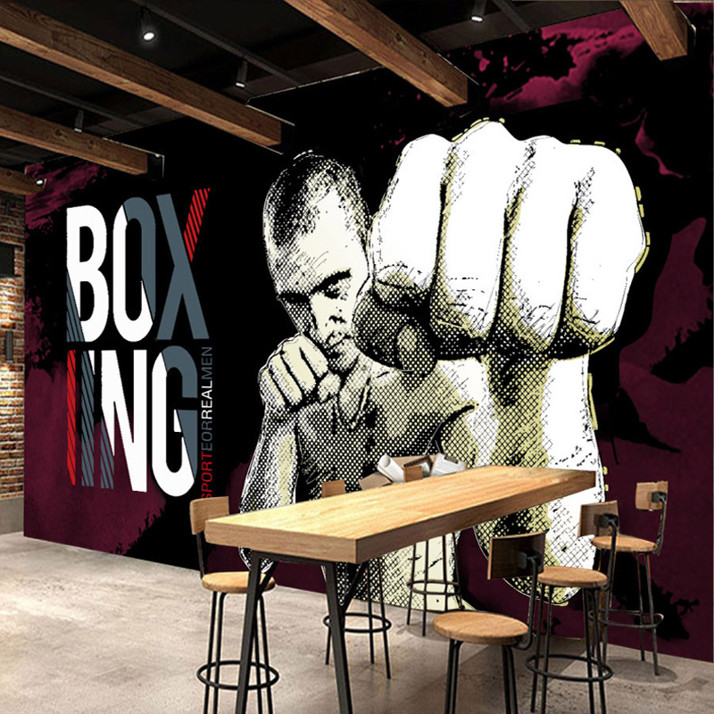 custom photo wall paper 3d boxing gym background poster. Black Bedroom Furniture Sets. Home Design Ideas