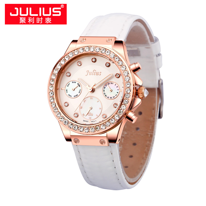 Top Julius Women's Watch Real Functions ISA Mov't Fashion Hours Dress Shell Sport Leather Auto Date School Girl Day Gift Box chic flower shape and sequins embellished newsboy hat for women