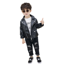 Baby Boys Clothes Pu Jacket And Coat Spring Autumn Children Leisure All-Match Boy Faux Leather Outerwear