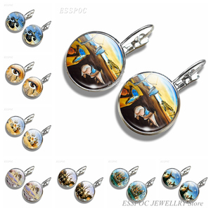 Salvador Dali Painting Earrings Simple Style Glass Dome Jewelry The Persistence of Memory Ear Stud Earring Daughter Girl Gifts(China)