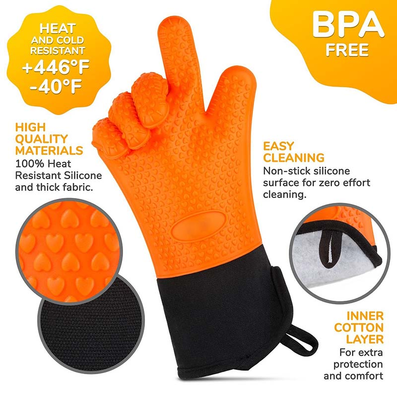 Baking Gloves Heat Resistant Silicone Kitchen Barbecue Oven Cooking Bbq Grill