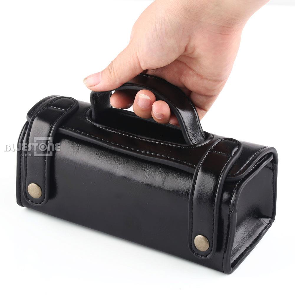 Mens PU Leather Travel Toiletry Bag Shaving Wash Case Organizer Bag Black