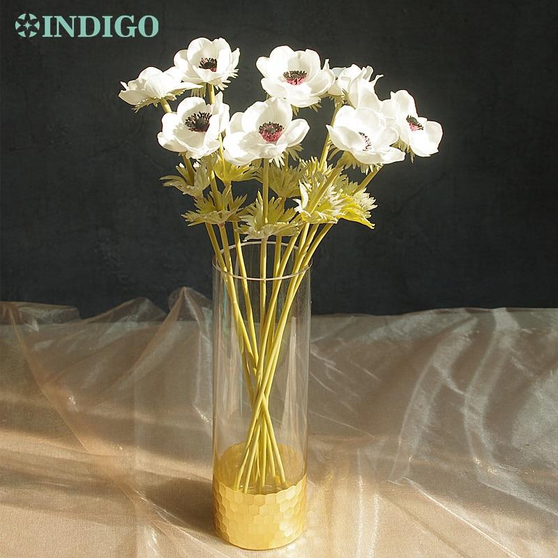 INDIGO- 9st PU Anemone Pasque Gul Daisy Blomma Hem Brud Bröllop - Semester och fester - Foto 4