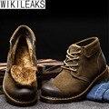 Wikileaks Nuevo Invierno Botas de Los Hombres Botas de Cuero Genuino Hecha A Mano de La Vendimia Khaki Suede Lace Up Zapatos de Los Hombres de Piel de Invierno Botines Calientes botas