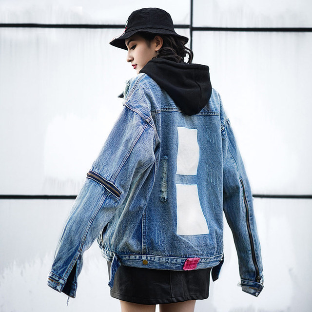 9088174e99c TREND-Setter 2018 Spring Fashion Hole Denim Jacket Women Streetwear Zipper  Ripped Loose Jean Jacket and Coat