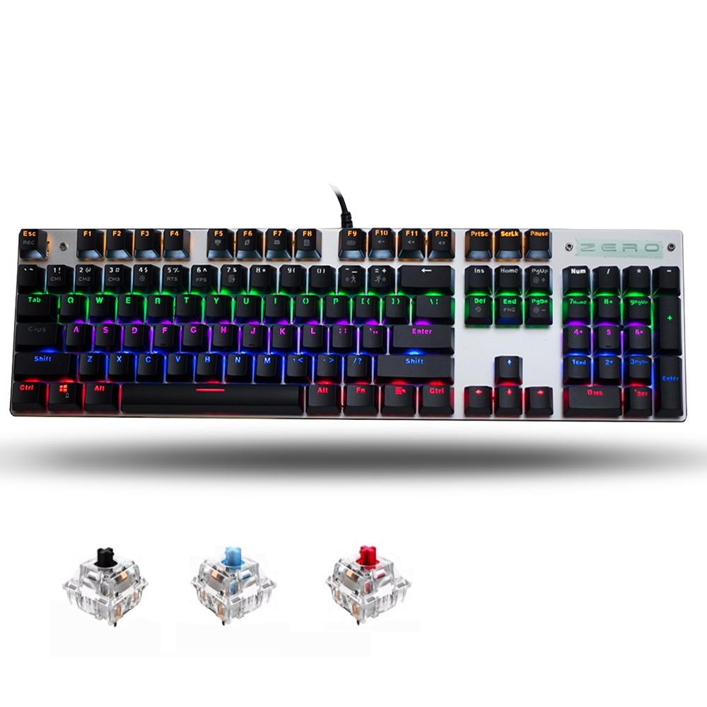 30bef1d356d Metoo Original gaming Mechanical Keyboard 87/104 keys switch Backlit usb  Wired keyboard blue/