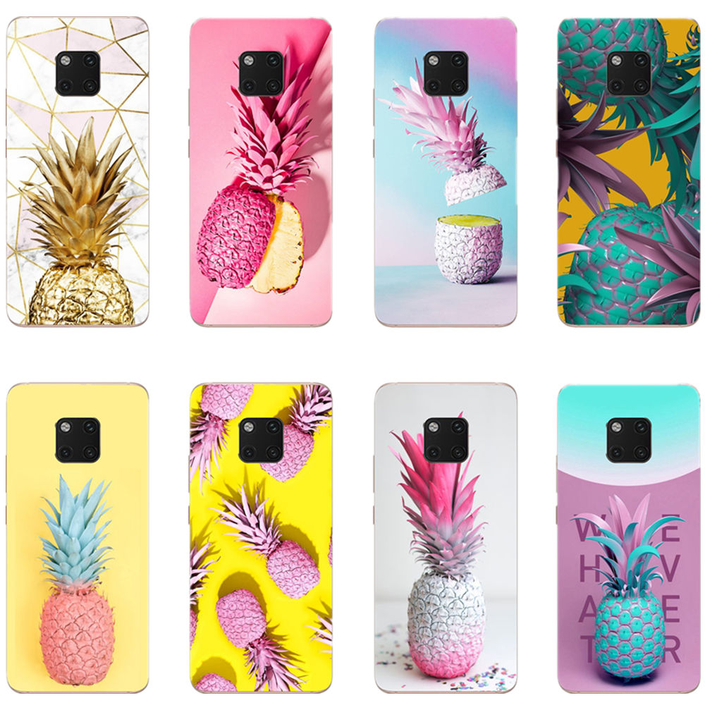 Pink pineapple golden soft TPU phone cover case for Huawei P8 P9 P10 P20Lite 2017 Mate20 Pro