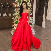 Cinderella Red Sweetheart Sleeveless Floor Length Zipper Back Crystal Beaded Evening Dresses vestidos de fiesta noche