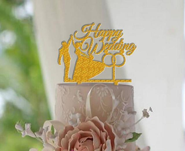Bride Groom Happy Wedding Ring Cake Topper Glitter Gold Acrylic Stand Favor Gift
