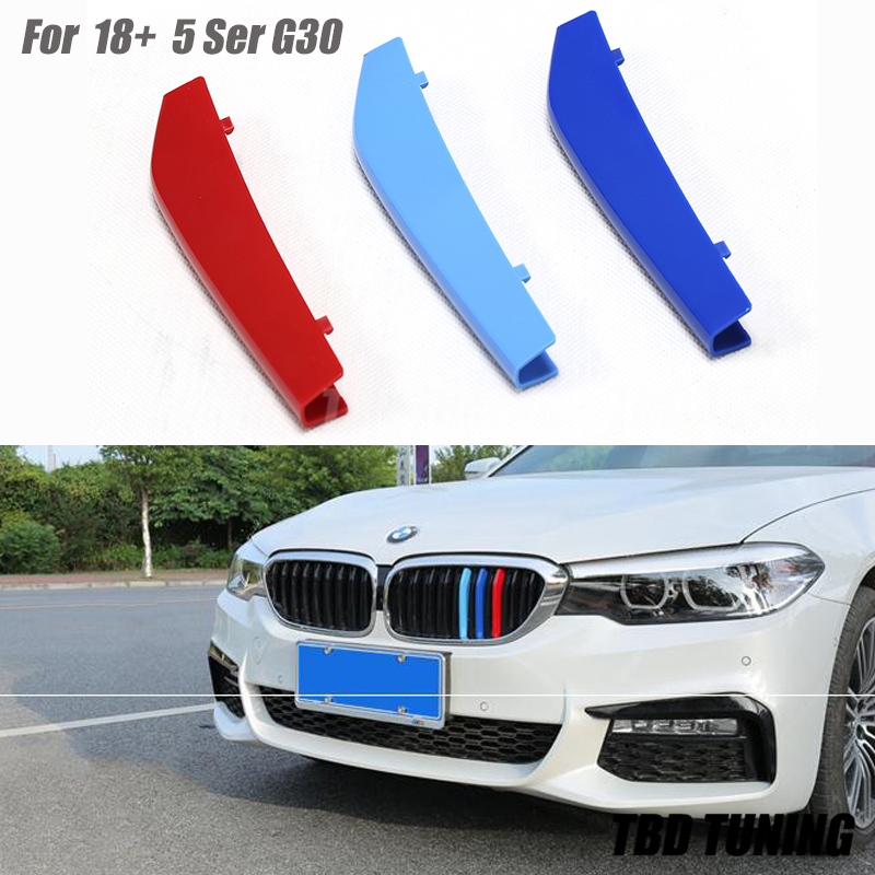 For 2018 2019 BMW 5 Series Sedan G30 3Pcs Tri-Color Front Grille Trim Strip Cover Bumper Strips Cover Stickers image
