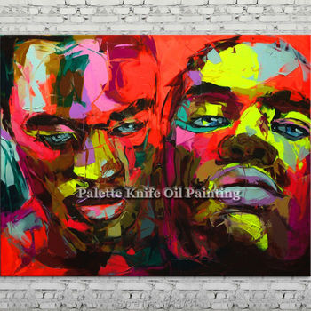 Palette knife portrait Face Oil painting Character figure canva Hand painted Francoise Nielly wall Art picture for living room79