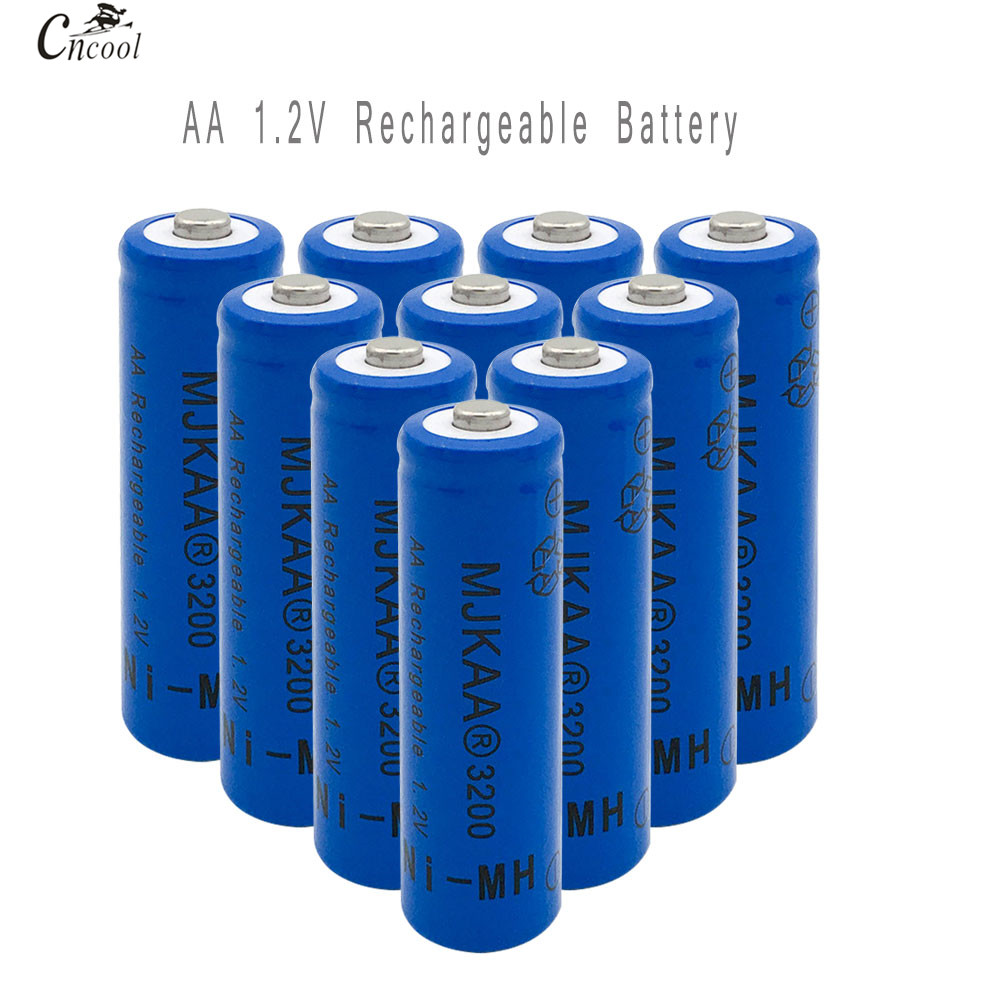 10pcs AA Ni-MH 3200mAh Battery 2A Batteries 1.2V AA Rechargeable Battery NI-MH battery for Remote control Toys LED lights