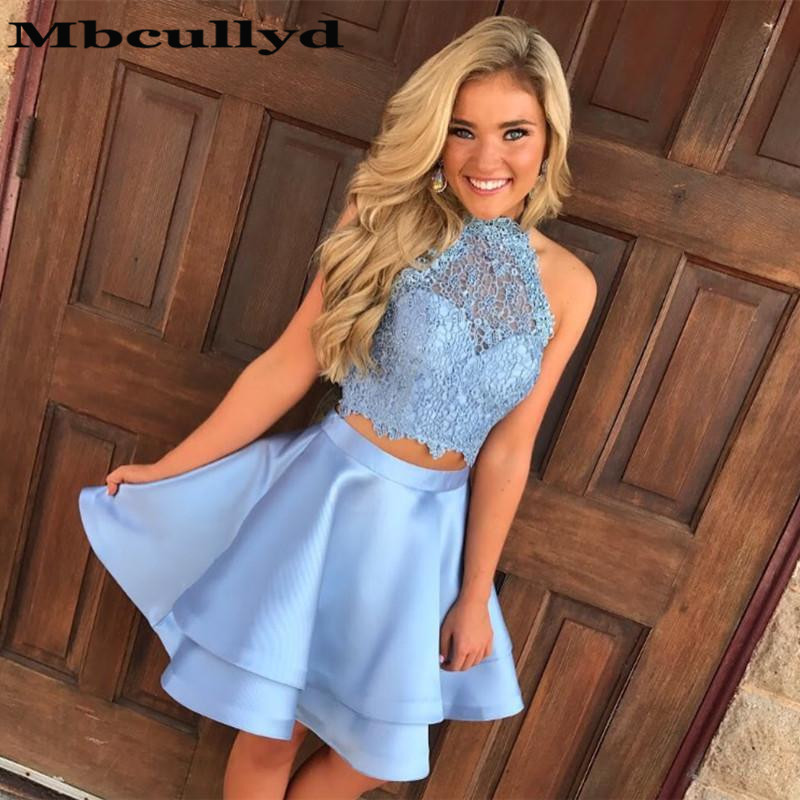 Mbcullyd Two Pieces Short Prom Dresses 2020 Sexy Halter Neck Backless Cocktail Dress Party For Women Vestidos de graduacion(China)