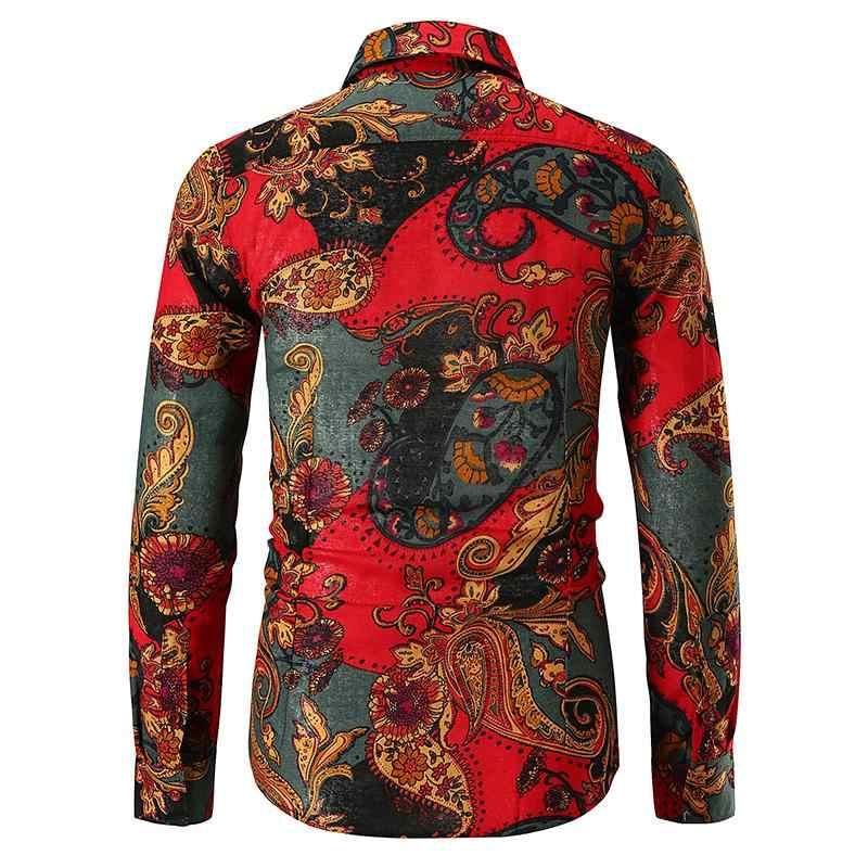 authentieke kwaliteit mode stijl gedetailleerde look Cashew Bloem gedrukt Lange mouwen heren Shirt Bloemen Hawaiian Shirt Blouse  Mannen Kleding Rood Groen