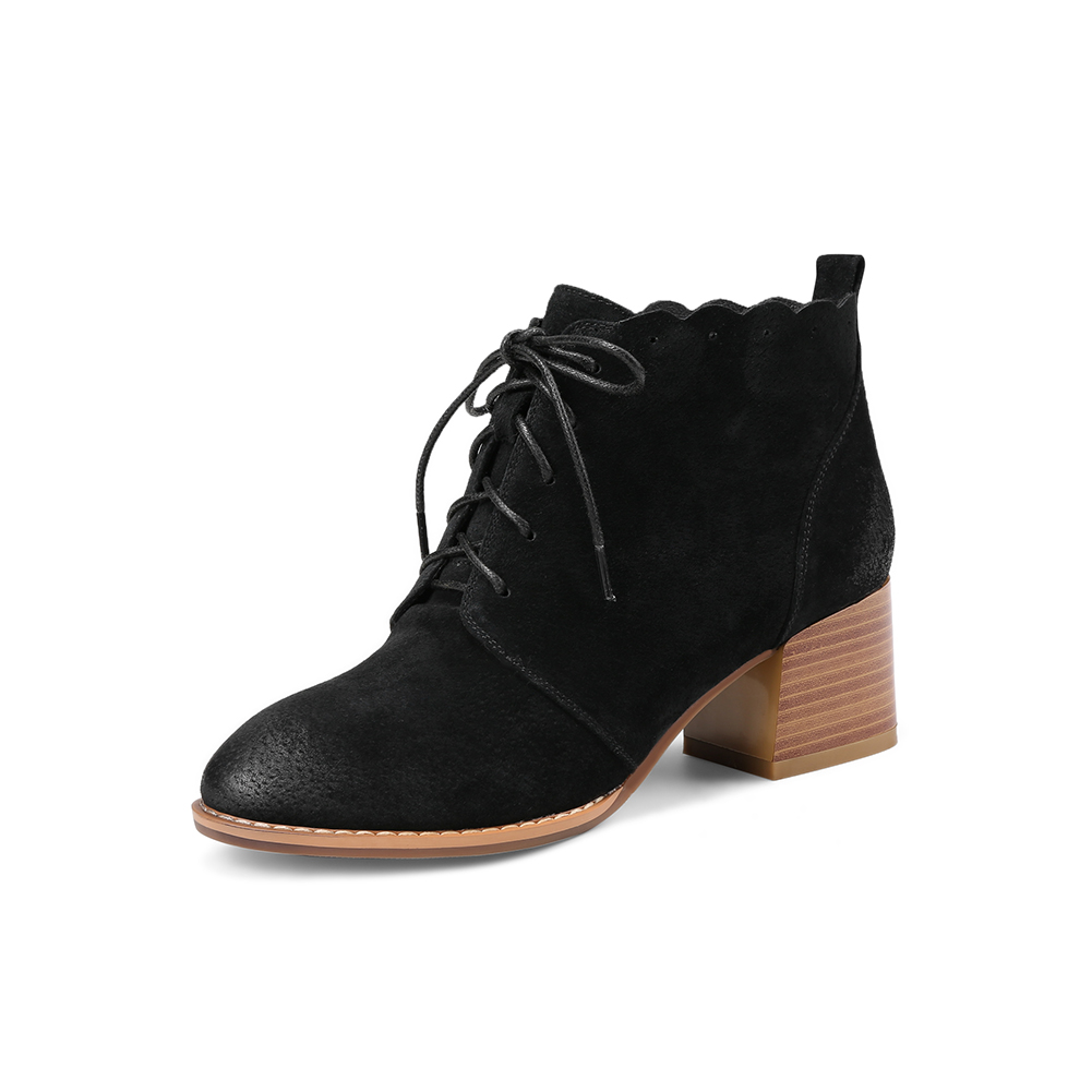 De Zapatos Negro Lapolaka Al Gamuza Mayor Por Retro Cerdo Grueso UCqYCwI