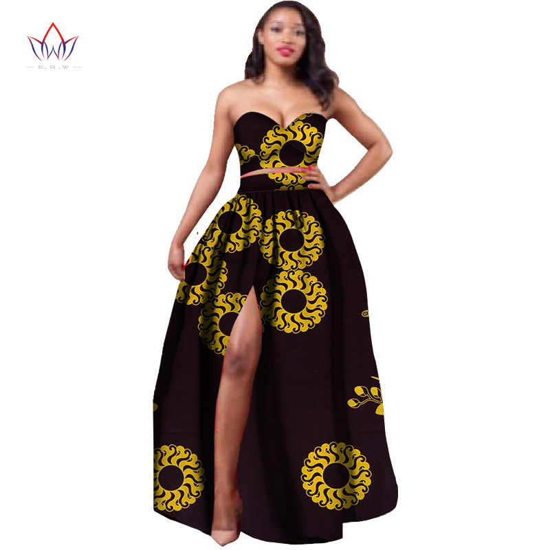 9cd8d0d55584dd ... 2018 African Clothes Dashiki for Women Bazin Riche Crop Top and Skirt  Set 2 Piece Traditional ...