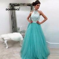 Doragrace robe de soiree Applique Lace Tulle High Neck Prom Dresses Long Evening Dress