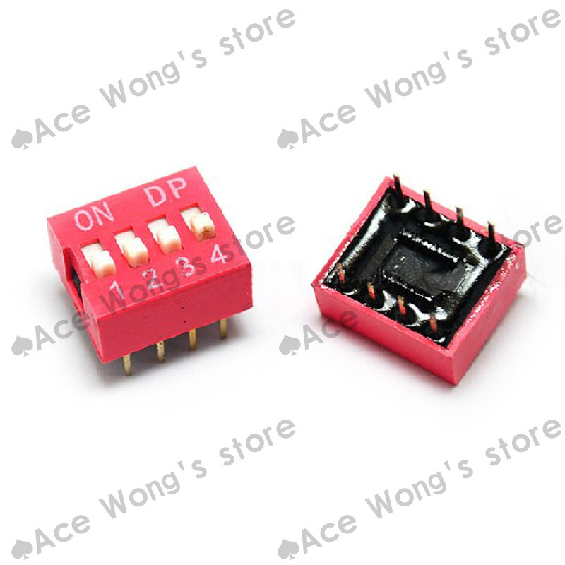 Free Shipping 30pcs 4P 4 Position DIP Switch 2.54mm Pitch 2 Row 8 Pin DIP Switch