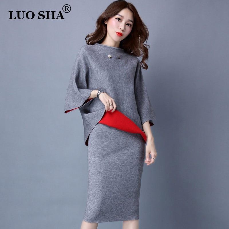 LUO SHA Two Piece Set Women Costume Female Pullover Sweat Suit Woman Cashmere Suit Women Clothes