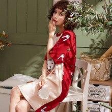 Summer2019 cotton nuisette femme de nuit round neck nightgowns cartoon print sweet sleepwear short sleeve night dress loose XXXL